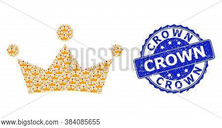 Crown Scratched Round Stamp Seal And Vector Recursion Mosaic Crown. Blue Stamp Seal Includes Crown T