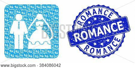 Romance Textured Round Seal Print And Vector Recursive Mosaic Bride And Groom. Blue Stamp Seal Has R
