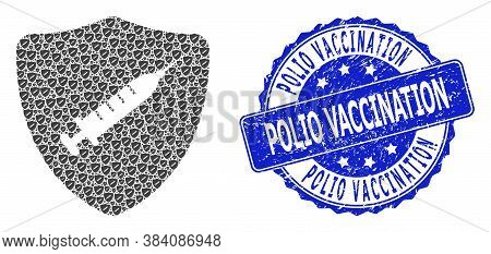Polio Vaccination Rubber Round Seal Print And Vector Recursive Mosaic Shield Vaccine. Blue Seal Has