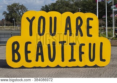 Toledo - Circa September 2020: You Are Beautiful, A Wood Painted Sculpture By Chicago Artist Matthew