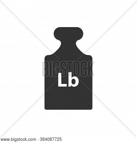 Lb, Lbs Weight Mass Black Simple Flat Icon. Old Barbell Press In Flat Design. Black Silhouette Isola