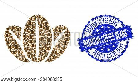 Premium Coffee Beans Corroded Round Seal Imitation And Vector Fractal Collage Coffee Beans. Blue Sea