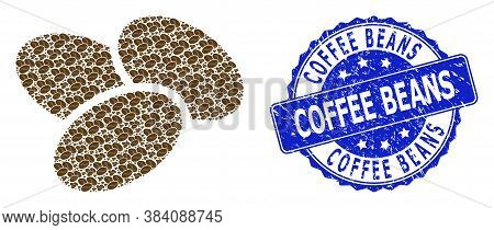 Coffee Beans Dirty Round Stamp Seal And Vector Recursive Composition Coffee Beans. Blue Stamp Seal I