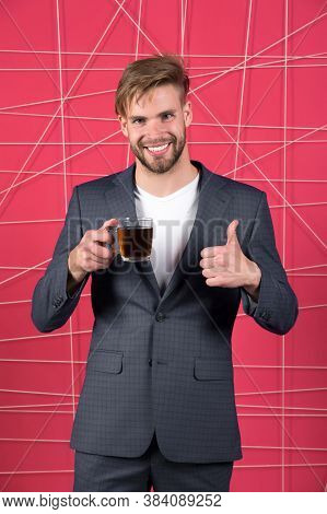Man Formal Elegant Suit Shows Thumb Up Gesture. Bachelor Elegant Guy Drink Tea Or Coffee And Highly