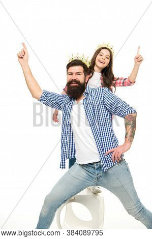 Keep Celebrating. Happy Family Enjoy Celebrating Isolated On White. Little Child And Bearded Man Wea