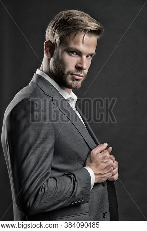 Businessman In Formal Wear. Confident Man. Face Of Plenary Leadership, Business. Bride Groom At Wedd