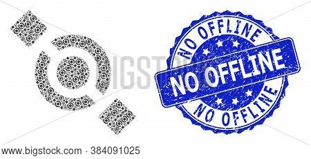 No Offline Rubber Round Seal And Vector Recursion Collage Joint Node. Blue Stamp Seal Has No Offline