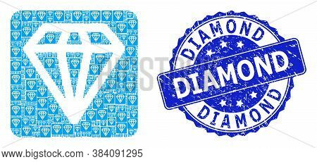 Diamond Corroded Round Seal Print And Vector Recursive Composition Diamond. Blue Seal Includes Diamo