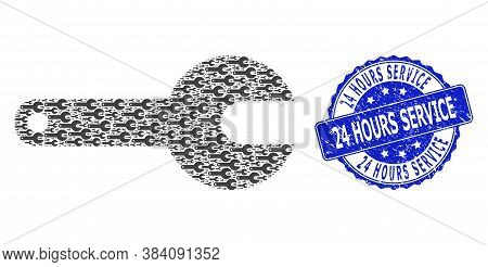 24 Hours Service Unclean Round Seal And Vector Fractal Composition Spanner Tool. Blue Stamp Seal Con