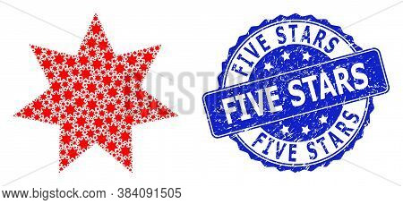 Five Stars Unclean Round Stamp And Vector Fractal Mosaic Eight Corner Star. Blue Stamp Seal Contains