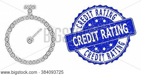 Credit Rating Unclean Round Seal And Vector Recursive Mosaic Time Tracker. Blue Seal Contains Credit
