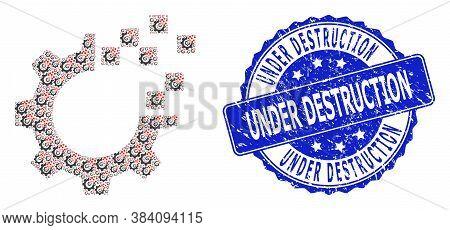 Under Destruction Rubber Round Seal Print And Vector Recursion Mosaic Auto Gear Repair. Blue Stamp S