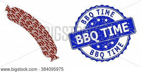 Bbq Time Textured Round Stamp Seal And Vector Recursive Mosaic Sausage. Blue Stamp Contains Bbq Time