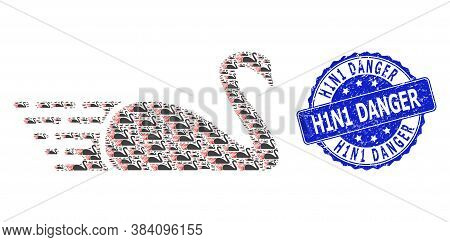 H1n1 Danger Unclean Round Seal Print And Vector Recursive Composition Swan. Blue Stamp Seal Has H1n1