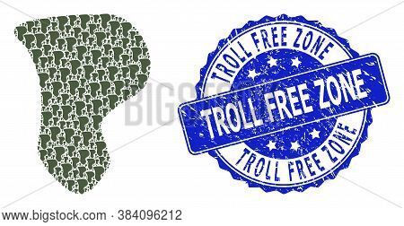 Troll Free Zone Corroded Round Stamp Seal And Vector Recursion Mosaic Spot. Blue Stamp Has Troll Fre