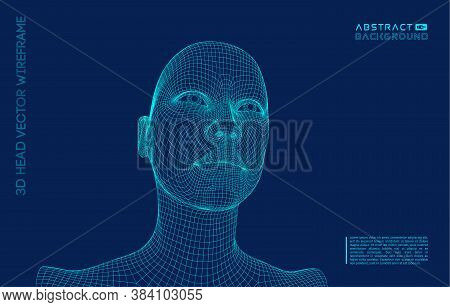 Artificial Intelligence Head, City Human And Innovations Sciences Fictions. Artificial Technology Hu