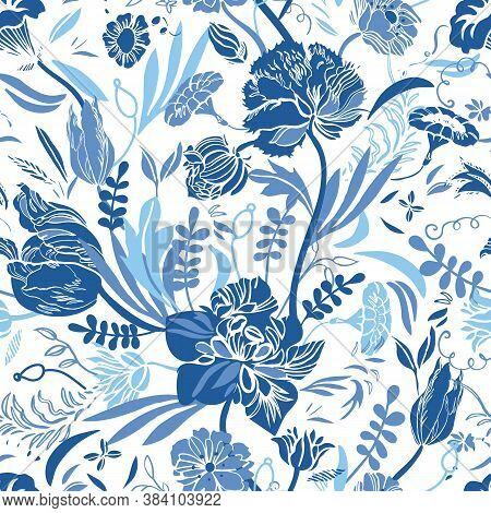 Vector Classic Vintage Porcelain Blue Royal Hand Drawn Elegant Floral Seamless Pattern With Line Art