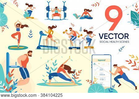 Active Sportive People User And Social Healthcare Application In Daily Human Life Scene Set. Man Wom
