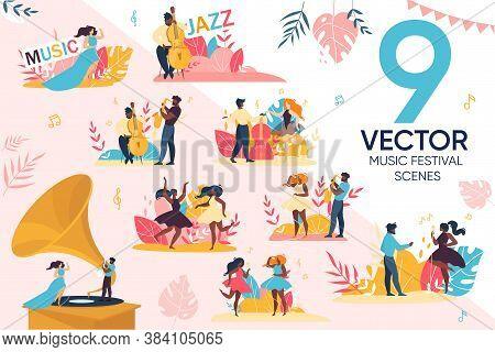 Open Air Jazz Music Festival Scene Set. Afro-american Caucasian Man Woman People Viewer, Popular Ban