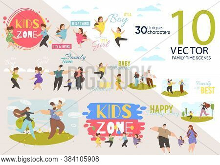 Kid Zone Construction Animated Character Set. Boy, Girl, Twins, Father And Mother With Son Or Daught