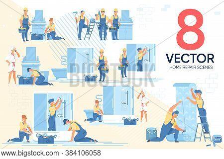 Home Master Repair Household Appliances Scene Set. Craftsman, Repairman, Plumber, Designer, Handyman