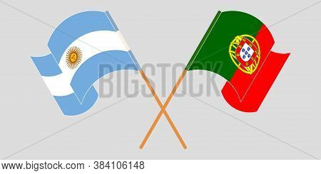 Crossed And Waving Flags Of Argentina And Portugal. Vector Illustration