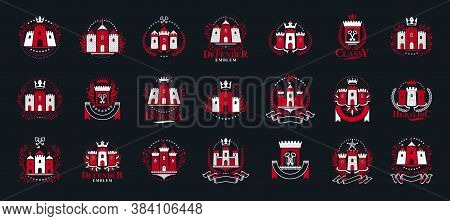 Vintage Castles Vector Logos Or Emblems, Heraldic Design Elements Big Set, Classic Style Heraldry Ar
