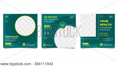 Collection Of Geometric Healthcare Social Media Post Template. With Green Background
