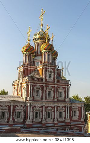 The old red-stone Russian Orthodox church in the center of Nizhny Novgorod