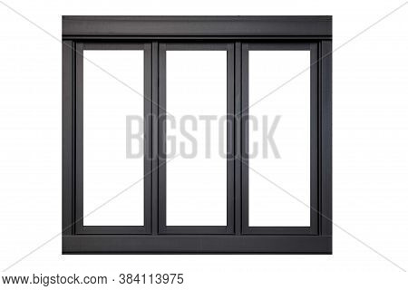 Vintage Black Metal Window Frame Isolaed On A White Background
