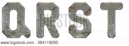 Set of capital letters Q, R, S, T made of industrial metal isolated on white background. 3d rendering