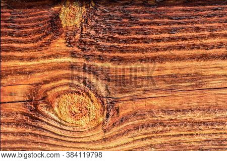 The Texture And Background Of Wooden Antiseptic Treated Timber On The Wall Of The House. L  The Text