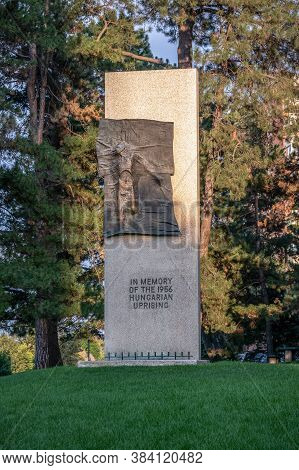 Denver, Colorado - August 30, 2020: In Memory Of The 1956 Hungarian Uprising Monument In Hungarian F