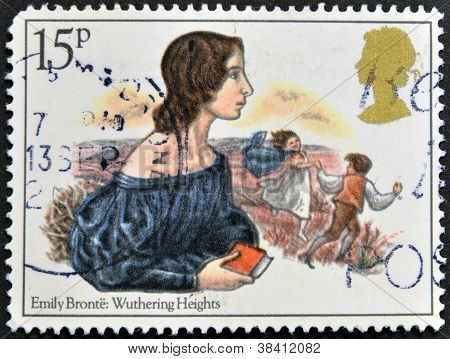 UNITED KINGDOM - CIRCA 1980: A stamp printed in Great Britain showing a drawing the writer Emily Bro