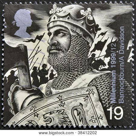 UNITED KINGDOM - CIRCA 1992: A stamp printed in Great Britain shows Robert the Bruce (Battle of Bann