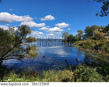 Summer Landscape, View Of The Saint-lawrence River On A Beautiful Summer Day, Montreal, Quebec, Cana