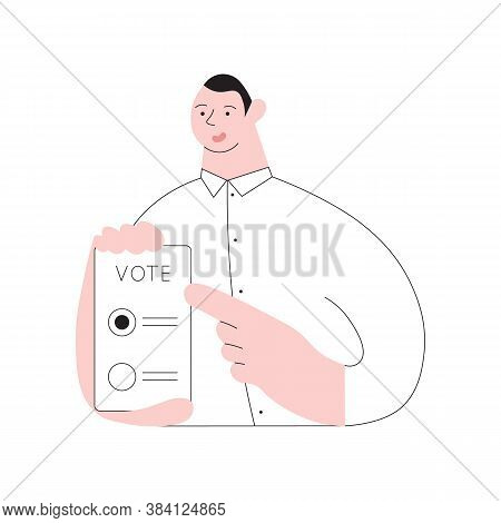 Man Points To His Smartphone And Calls To Vote Electronically. Concept Of Online Voting, E-voting, E