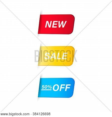 New And Sale Label. Pricetag. Vector On Isolated White Background. Eps 10