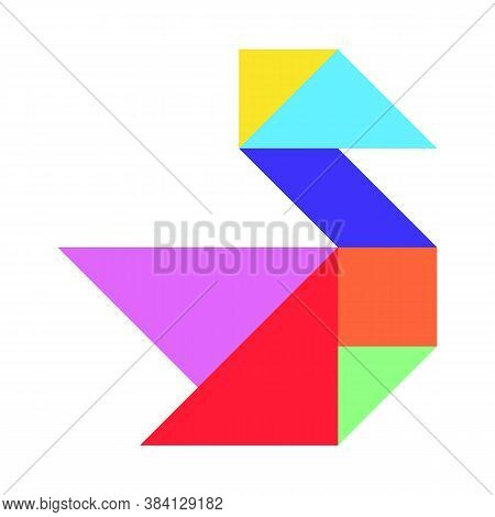 Color Tangram Puzzle In Swan, Duck Or Goose Shape On White Background