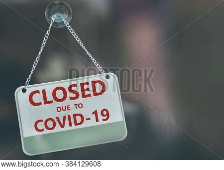 Business Office Or Store Shop Is Closed,  Since Coronavirus (covid-19) Pandemic.