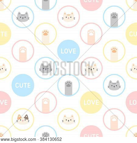 Cute Cat And Paw Footprint Seamless Background Repeating Pattern, Wallpaper Background, Cute Seamles