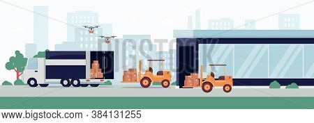 Warehouse With Equipment For Loading And Warehousing Flat Vector Illustration.