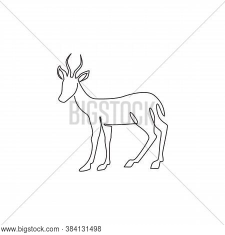 Single Continuous Line Drawing Of Cute Antelope For Company Logo Identity. Horned Gazelle Mascot Con