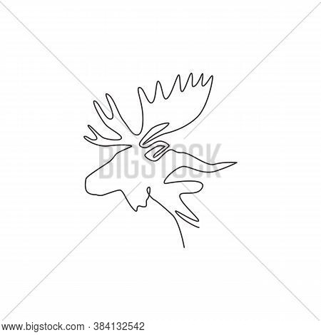 Single Continuous Line Drawing Of Sturdy Moose Head For Logo Identity. Buck Animal Mascot Concept Fo