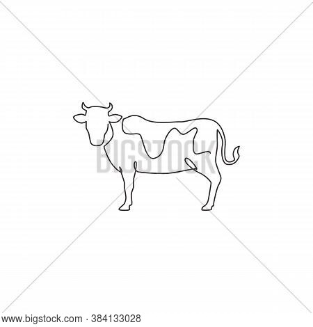 One Single Line Drawing Of Fat Cow For Husbandry Logo Identity. Mammal Animal Mascot Concept For Liv