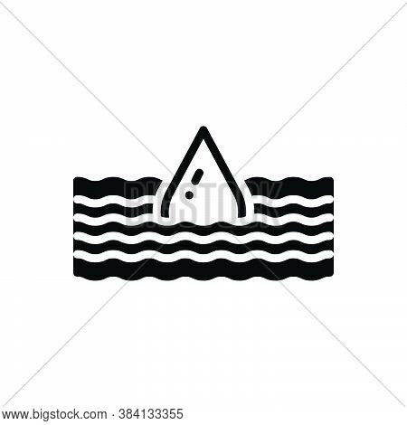 Black Solid Icon For Deep Submerge Water-wave Flood Torrent Yawning Bottomless Sunk