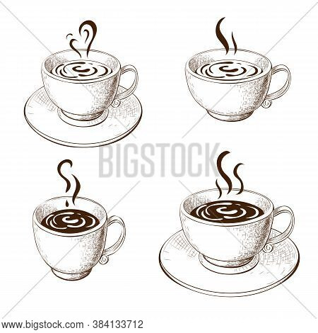 Hand Drawn Cups Of Coffee Or Tea With Saucer Isolated On White. Variety Coffee Mugs Sketch. Engraved