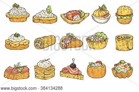 Appetizers And Snacks In Sketch Style Vector Illustration Isolated On Background.
