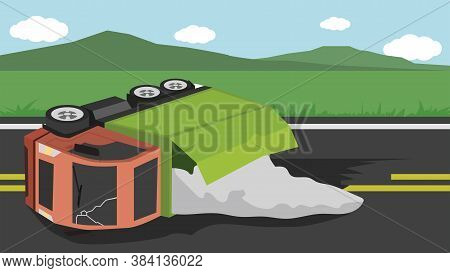 Accident Of Container Truck Crashes On The Road And Chemicals Have Leaked From The Container. Obstru