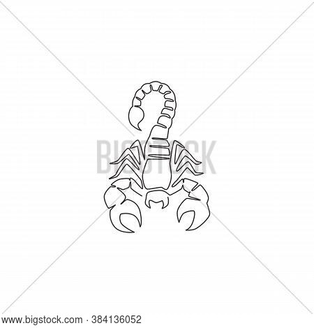 One Continuous Line Drawing Of Danger Scorpion For Company Logo Identity. Dangerous Insect Mascot Co